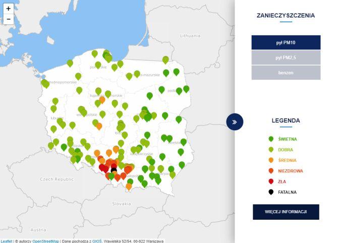 Stężenie pyłu PM10 o godzinie 6 (tvnmeteo.pl za GIOŚ)