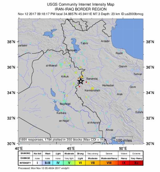 Trzęsienie najsilniej odczuwalny było przy granicy irańsko-irackiej (USGS)