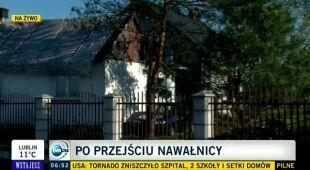 Kruszyna koło Radomia po gradobiciu (TVN24)